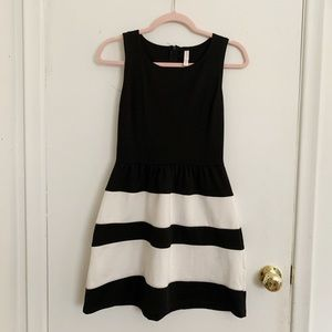 Black and White Knee length dress